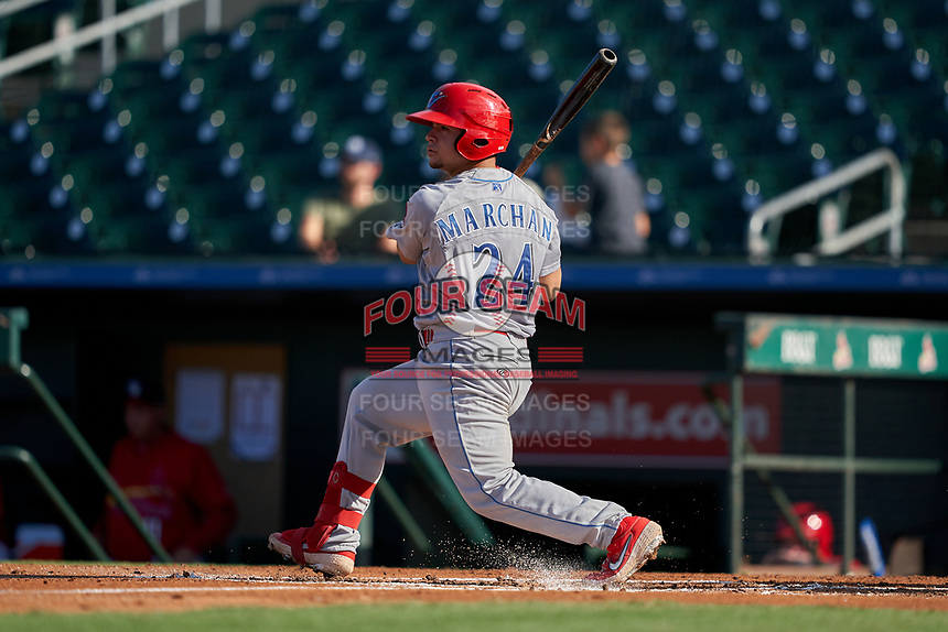 Clearwater Threshers Rafael Marchan (24) bats during a Florida State League game against the Palm Beach Cardinals on August 10, 2019 at Roger Dean Chevrolet Stadium in Jupiter, Florida.  Clearwater defeated Palm Beach 11-4.  (Mike Janes/Four Seam Images)