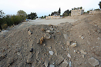 Pictured: Mounts of rubble and soil left at the farmhouse (C)site where Ben Needham disappeared from in Kos, Greece. <br />Re: The search for missing Ben Needham led by South Yorkshire Police has concluded on the Greek island of Kos.<br />Ben, from Sheffield, was 21 months old when he disappeared on 24 July 1991 during a family holiday.<br />Digging took place around the farmhouse where Ben Needham was last seen and at a new site after a fresh line of inquiry suggested he could have been crushed by a digger.