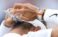 A close-up of Rafael Nadal (ESP) during his match against Nick Kyrgios (AUS) in their Gentleman's Singles Second Round match<br /> <br /> <br /> Photographer Rob Newell/CameraSport<br /> <br /> Wimbledon Lawn Tennis Championships - Day 4 - Thursday 4th July 2019 -  All England Lawn Tennis and Croquet Club - Wimbledon - London - England<br /> <br /> World Copyright © 2019 CameraSport. All rights reserved. 43 Linden Ave. Countesthorpe. Leicester. England. LE8 5PG - Tel: +44 (0) 116 277 4147 - admin@camerasport.com - www.camerasport.com