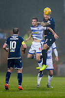 1st November 2019; Dens Park, Dundee, Scotland; Scottish Championship Football, Dundee Football Club versus Greenock Morton; Jordon Forster of Dundee competes in the air with Kyle Jacobs of Greenock Morton  - Editorial Use