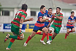 Larelle Underhill goes through a gap in the Waiuku defensive line. Counties Manukau Premier rugby game between Waiuku & Ardmore Marist played at Waiuku on Saturday May 10th 2008..Ardmore Marist won 27 - 6 after leading 10 - 6 at halftime.