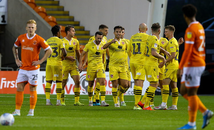 Morecambe's Kevin Ellison celebrates scoring his side's first goal with teamates<br /> <br /> Photographer Alex Dodd/CameraSport<br /> <br /> EFL Leasing.com Trophy - Northern Section - Group G - Blackpool v Morecambe - Tuesday 3rd September 2019 - Bloomfield Road - Blackpool<br />  <br /> World Copyright © 2018 CameraSport. All rights reserved. 43 Linden Ave. Countesthorpe. Leicester. England. LE8 5PG - Tel: +44 (0) 116 277 4147 - admin@camerasport.com - www.camerasport.com
