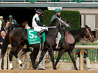 """October 07, 2018 : #5 Forloveofcountry and jockey Luis Saez before running in the 28th running of The Dixiana Bourbon (Grade 3) $250,000 """"Win and You're In Breeders' Cup Juvenile Turf Division"""" at Keeneland Race Course on October 07, 2018 in Lexington, KY.  Candice Chavez/ESW/CSM"""