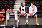 Mar. 27, 2015; Pat Connaughton (24) and Jerian Grant (22) pause during practice before the 2015 NCAA Tourament regional final against Kentucky. (Photo by Matt Cashore/University of Notre Dame)