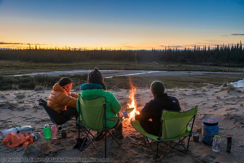 Tent camp along Ahnewetut Creek, Great Sand Dunes in the Kobuk Valley National Park, Arctic, Alaska.