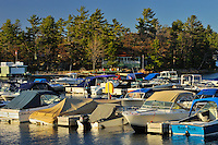 Boats in marina on Raven Lake<br /> Dorset<br /> Ontario<br /> Canada