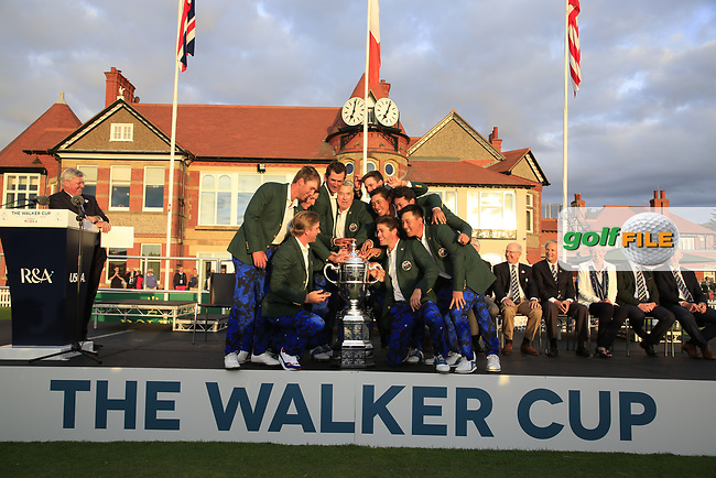 The USA Team after winning 15.5 to 10.5 in the final day singles matches at the Walker Cup, Royal Liverpool Golf Club, Hoylake, Cheshire, England. 08/09/2019.<br /> Picture Fran Caffrey / Golffile.ie<br /> <br /> All photo usage must carry mandatory copyright credit (© Golffile   Fran Caffrey)