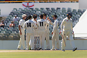 November 4th 2017, WACA Ground, Perth Australia; International cricket tour, Western Australia versus England, day 1; Western Warriors celebrate the wicket of England player Mark Stoneman