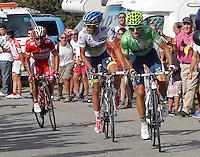Alberto Contador (w), Alejandro Valverde (g) and Joaquin Purito Rodriguez (r) during the stage of La Vuelta 2012 between La Robla and Lagos de Covadonga.September 2,2012. (ALTERPHOTOS/Paola Otero) /NortePhoto.com<br /> <br /> **CREDITO*OBLIGATORIO** <br /> *No*Venta*A*Terceros*<br /> *No*Sale*So*third*<br /> *** No*Se*Permite*Hacer*Archivo**<br /> *No*Sale*So*third*
