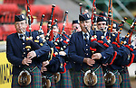 St Johnstone v Kilmarnock...07.11.15  SPFL  McDiarmid Park, Perth<br /> A Remembrance Service was held before kick off.... The Perth &amp; District Pipe Band parade around the pitch before kick off<br /> Picture by Graeme Hart.<br /> Copyright Perthshire Picture Agency<br /> Tel: 01738 623350  Mobile: 07990 594431
