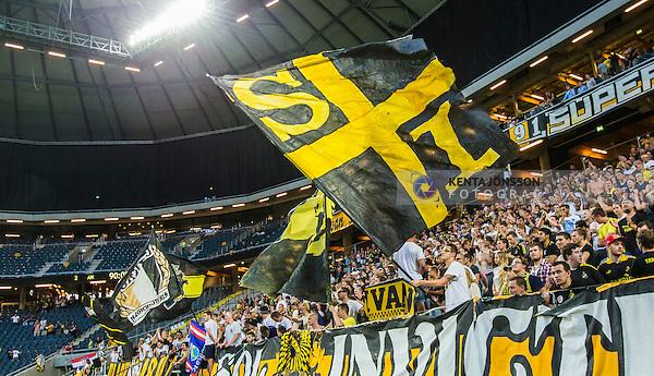 Solna 2014-07-24 Fotboll Europa League AIK - Linfield FC :  <br /> AIK:s supportrar med en flagga<br /> (Foto: Kenta J&ouml;nsson) Nyckelord:  AIK Gnaget Friends Arena Linfield LFC Europa League Kval supporter fans publik supporters