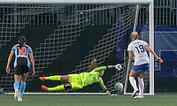 Allston, Massachusetts - May 7, 2016:  In a National Women's Soccer League (NWSL) match, Chicago Red Stars (dark blue/blue) defeated Boston Breakers (white/blue), 1-0, at Jordan Field. Alyssa Naeher penalty kick save.