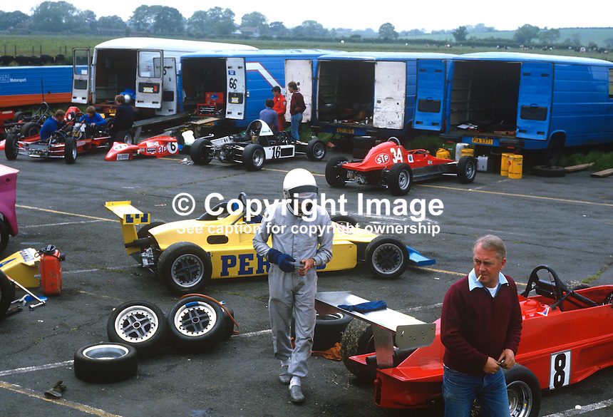 Pits, Kirkiston Motor Racing, Co Down, N Ireland, 19850604MR3..Copyright Image from Victor Patterson, 54 Dorchester Park, Belfast, UK, BT9 6RJ..Tel: +44 28 9066 1296.Mob: +44 7802 353836.Voicemail +44 20 8816 7153.Skype: victorpattersonbelfast.Email: victorpatterson@me.com.Email: victorpatterson@ireland.com (back-up)..IMPORTANT: If you wish to use this image or any other of my images please go to www.victorpatterson.com and click on the Terms & Conditions. Then contact me by email or phone with the reference number(s) of the image(s) concerned.