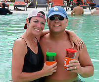 Jared's brother and sister-in-law, Matt and Christa Newgent, pose in the pool on Wednesday, two days before Allison & Jared's wedding in Punta Cana