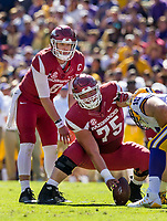 NWA Democrat-Gazette/BEN GOFF @NWABENGOFF<br /> Austin Allen, Arkansas quarterback, lines up behind center Zach Rogers in the second quarter Saturday, Nov. 11, 2017 at Tiger Stadium in Baton Rouge, La.