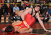 Hunter Dusold of Locust Valley, top, controls Sean Watson of Chaminade at 126 pounds during the final round of the 2016 Ted Petersen Tournament at Island Trees High School on Saturday, Jan. 2, 2016. Dusold won the match.