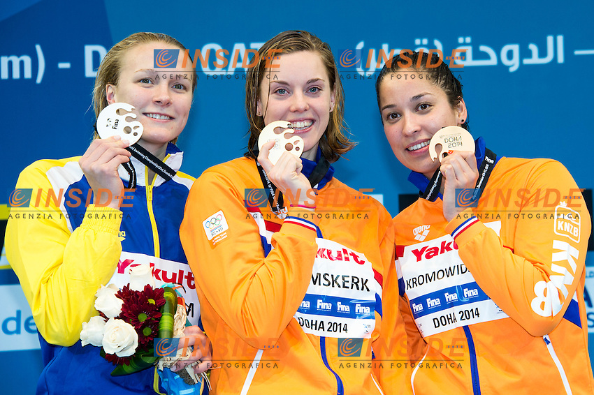 HEEMSKERK Femke NED Gold Medal CR<br /> SJOSTROM Sarah SWE Silver Medal<br /> KROMOWIDJOJO Ranomi NED Bronze Medal<br /> Women's 100m Freestyle Final<br /> Doha Qatar 05-12-2014 Hamad Aquatic Centre, 12th FINA World Swimming Championships (25m). Nuoto Campionati mondiali di nuoto in vasca corta.<br /> Photo Giorgio Scala/Deepbluemedia/Insidefoto