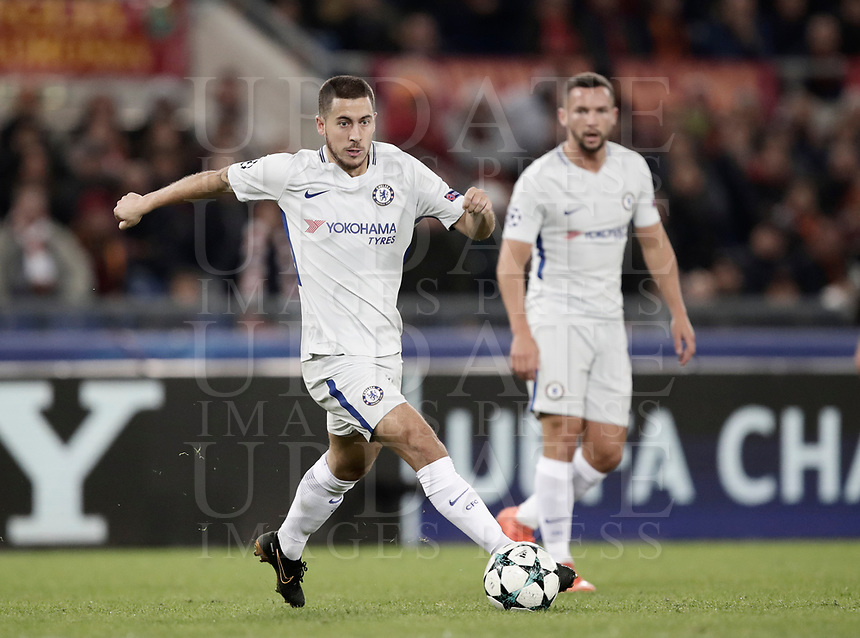 Football Soccer: UEFA Champions League AS Roma vs Chelsea Stadio Olimpico Rome, Italy, October 31, 2017. <br /> Chelsea's Eden Hazard in action during the Uefa Champions League football soccer match between AS Roma and Chelsea at Rome's Olympic stadium, October 31, 2017.<br /> UPDATE IMAGES PRESS/Isabella Bonotto