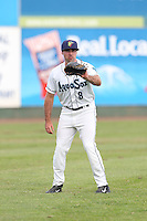 Kody Kerski #8 of the Everett AquaSox during a game against the Boise Hawks at Everett Memorial Stadium on July 22, 2014 in Everett, Washington. Everett defeated Boise, 6-0. (Larry Goren/Four Seam Images)