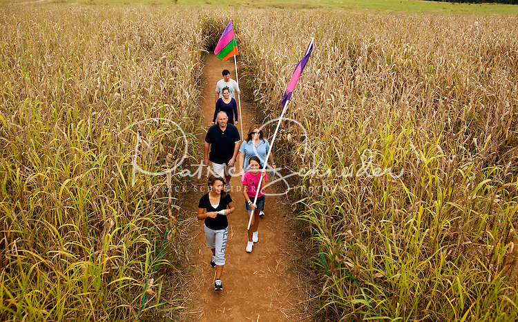 Each fall, visitors to Rural Hill in Huntersville, NC, attempt to find their ways around the Amazing Maize Maze, a corn maze with hidden clues and puzzles. Rural Hill created its first corn maze in 1998.  Photos are not model released, but were taken with permission by Rural Hill.