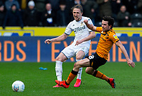 Leeds United's Luke Ayling takes on Hull City's George Honeyman<br /> <br /> Photographer Alex Dodd/CameraSport<br /> <br /> The EFL Sky Bet Championship - Hull City v Leeds United - Saturday 29th February 2020 - KCOM Stadium - Hull<br /> <br /> World Copyright © 2020 CameraSport. All rights reserved. 43 Linden Ave. Countesthorpe. Leicester. England. LE8 5PG - Tel: +44 (0) 116 277 4147 - admin@camerasport.com - www.camerasport.com