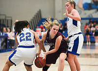 NWA Democrat-Gazette/CHARLIE KAIJO Siloam Springs High School guard Jadyn Still (23) drives the ball, during the Great 8 Tournament, Thursday, November 29, 2018 at King Arena at Rogers High School in Rogers.