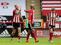 Sheffield United's Oliver McBurnie celebrates scoring his side's second goal with David McGoldrick<br /> <br /> Photographer Alex Dodd/CameraSport<br /> <br /> The Premier League - Sheffield United v Chelsea - Saturday 11th July 2020 - Bramall Lane - Sheffield<br /> <br /> World Copyright © 2020 CameraSport. All rights reserved. 43 Linden Ave. Countesthorpe. Leicester. England. LE8 5PG - Tel: +44 (0) 116 277 4147 - admin@camerasport.com - www.camerasport.com
