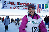 Bailey Schaeffer at the finish of the 2018 Junior Iditarod in Willow, Alaska. Sunday February 25, 2018<br /> <br /> Photo by Jeff Schultz/SchultzPhoto.com  (C) 2018  ALL RIGHTS RESERVED