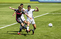 Leeds United's Patrick Bamford (left) shoots at goal  under pressure from  Swansea City's Ben Cabango <br /> <br /> Photographer Andrew Kearns/CameraSport<br /> <br /> The EFL Sky Bet Championship - Swansea City v Leeds United - Sunday 12th July 2020 - Liberty Stadium - Swansea<br /> <br /> World Copyright © 2020 CameraSport. All rights reserved. 43 Linden Ave. Countesthorpe. Leicester. England. LE8 5PG - Tel: +44 (0) 116 277 4147 - admin@camerasport.com - www.camerasport.com