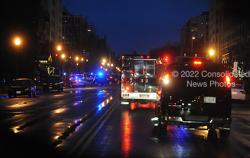 The motorcade carrying President Barack Obama arrives at the Jefferson Hotel March 6, 2013 in Washington, DC. President Obama will have dinner with Republican Senators. .Credit: Olivier Douliery / Pool via CNP