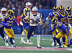 ATLANTA, GA - FEBRUARY 3: New England Patriots running back Rex Burkhead carries the ball against the Los Angeles Rams during the fourth quarter of  Super Bowl LIII at Mercedes-Benz Stadium in Atlanta, Georgia on February 3, 2019. (Staff Photo By Christopher Evans/MediaNews Group/Boston Herald)