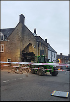 BNPS.co.uk (01202 558833)<br /> Pic: RachelHayball/BNPS<br /> <br /> Epic Fail...<br /> <br /> Inept ram raiders have demolished half the wall of a furniture showroom in the sleepy Dorset town of Beaminster last night.<br /> <br /> The cash machine is still to be leived to be in the rubble and the theives were forced to abandon the tractor used in the raid.