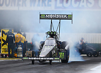 Feb 10, 2017; Pomona, CA, USA; NHRA top fuel driver Brittany Force during qualifying for the Winternationals at Auto Club Raceway at Pomona. Mandatory Credit: Mark J. Rebilas-USA TODAY Sports