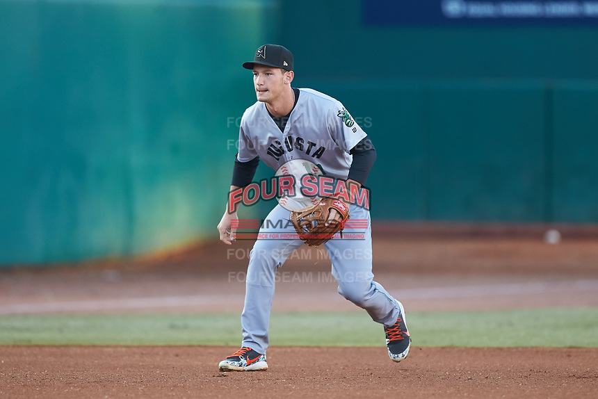 Augusta GreenJackets third baseman Jacob Gonzalez (18) on defense against the Greensboro Grasshoppers at First National Bank Field on April 10, 2018 in Greensboro, North Carolina.  The GreenJackets defeated the Grasshoppers 5-0.  (Brian Westerholt/Four Seam Images)