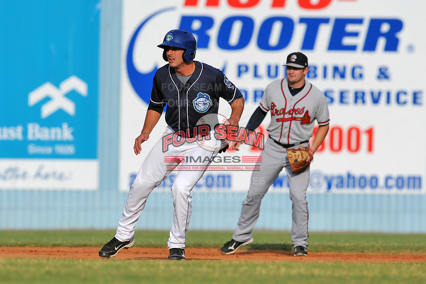 Asheville Tourists designated hitter Joe Altobelli #7 leads off second during a game against the Rome Braves at McCormick Field on August 20, 2011 in Asheville, North Carolina. Rome won the game 10-9.   (Tony Farlow/Four Seam Images)