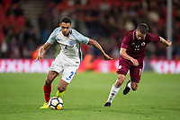 Trent Alexander-Arnold (Liverpool) of England U21 takes on Andris Krusatins (Liepaja) of Latvia U21 during the UEFA EURO U-21 First qualifying round International match between England 21 and Latvia U21 at the Goldsands Stadium, Bournemouth, England on 5 September 2017. Photo by Andy Rowland.