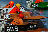 42-H, 24-E, 2-US and 80-S race to the start.   (outboard Hydroplane)