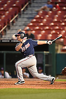 Gwinnett Braves designated hitter Jose Yepez (25) at bat during a game against the Buffalo Bisons on May 13, 2014 at Coca-Cola Field in Buffalo, New  York.  Gwinnett defeated Buffalo 3-2.  (Mike Janes/Four Seam Images)