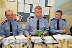 GARDAI: Speaking to the media at the Garda Press Conference in Killorglin Garda Station on Monday, l-r: Superintendent Pat OSullivan, Superintendent John Gilligan of the Garda Press Office, Inspector Donal Ashe.