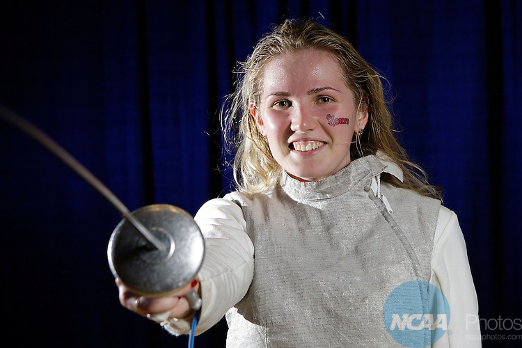 23 MAR 2012:  Evgeniya Kirpicheva poses after beating Luona Wang of Penn in the foil competition of the Division I Women's Fencing Championship held at St. John Arena on the Ohio State University campus in Columbus, OH. Kirpicheva defeated Wang 15-8 to claim the national title.  Jay LaPrete/ NCAA Photos