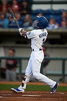 Rancho Cucamonga Quakes center fielder Jeren Kendall (3) follows through on his swing during a California League game against the Lake Elsinore Storm at LoanMart Field on May 19, 2018 in Rancho Cucamonga, California. Lake Elsinore defeated Rancho Cucamonga 10-7. (Zachary Lucy/Four Seam Images)