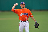 Sophomore infielder Chase Pinder (5) of the Clemson Tigers before a fall practice intra-squad Orange-Purple scrimmage on Sunday, September 27, 2015, at Doug Kingsmore Stadium in Clemson, South Carolina. (Tom Priddy/Four Seam Images)