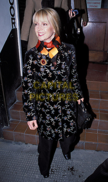 """TOYAH WILCOX.attends press night for """"What The Night Is For"""" at the Comedy Theatre.sales@capitalpictures.com.www.capitalpictures.com.©Capital Pictures.floral print coat, brooch, clashing"""