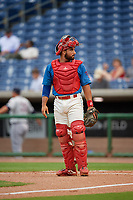 Clearwater Threshers catcher Edgar Cabral (30) during a Florida State League game against the Lakeland Flying Tigers on May 14, 2019 at Spectrum Field in Clearwater, Florida.  Clearwater defeated Lakeland 6-3.  (Mike Janes/Four Seam Images)