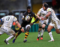 High Wycombe, England.Christian Wade of London Wasps charges forward during the Aviva Premiership match between London Wasps and Sale Sharks at Adams Park on December 23. 2012 in High Wycombe, England.