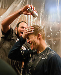 Reno Aces closer Jonathan Albaladejo pours beer over Mike Jacobs head as he is interviewed while celebrating their Pacific Conference Championship win over the Sacramento River Cats on Sunday afternoon, September 9, 2012 in Reno, Nevada.