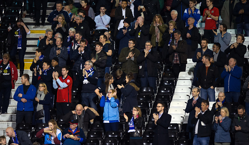 Blackburn Rovers fans at Craven Cottage<br /> <br /> Photographer /Ashley WesternCameraSport<br /> <br /> The EFL Sky Bet Championship - Fulham v Blackburn Rovers - Tuesday 14th March 2017 - Craven Cottage - London<br /> <br /> World Copyright &copy; 2017 CameraSport. All rights reserved. 43 Linden Ave. Countesthorpe. Leicester. England. LE8 5PG - Tel: +44 (0) 116 277 4147 - admin@camerasport.com - www.camerasport.com