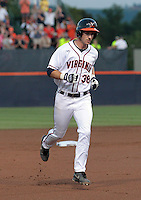Virginia outfielder Mike Papi (38) runs the bases after hitting a home run in the first inning during the game against Arkansas Saturday night at Davenport Field in Charlottesville, VA. Photo/The Daily Progress/Andrew Shurtleff