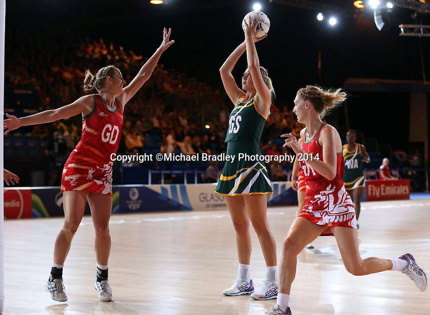 29.07.2014 South Africa's Lenize Potgieter in action during the South v Wales netball match at the Commonwealth Games Glasgow Scotland on the 29th of July 2014. Mandatory Photo Credit ©Michael Bradley.