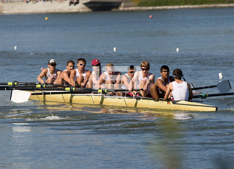 Redwood Shores - April 20th, 2013: Stanford Men's crew during Pac-12 Challenge.